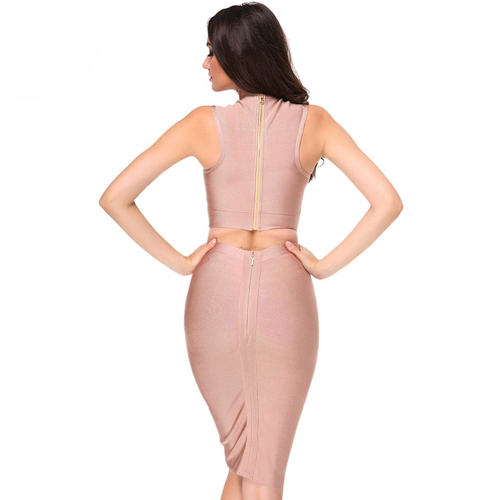 Two Piece Body Con Dress- Khaki - Her Teen Dream