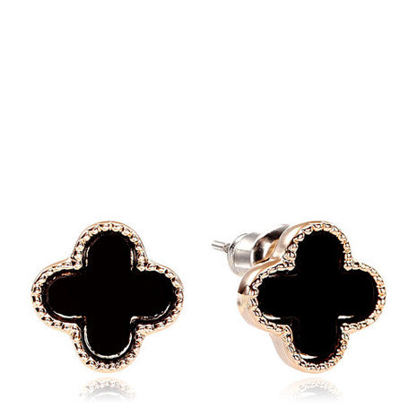 Black Four Leaf Clover Earrings - Her Teen Dream