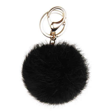 Black Pom Pom Furry Keychain - Her Teen Dream
