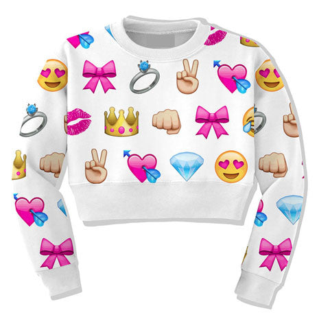 Emoji Crop Top Sweater - Her Teen Dream