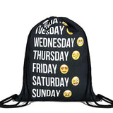 Emoji Week Drawstring Backpack - Her Teen Dream