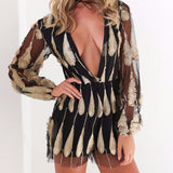 Black Gold Feather Playsuit - Her Teen Dream