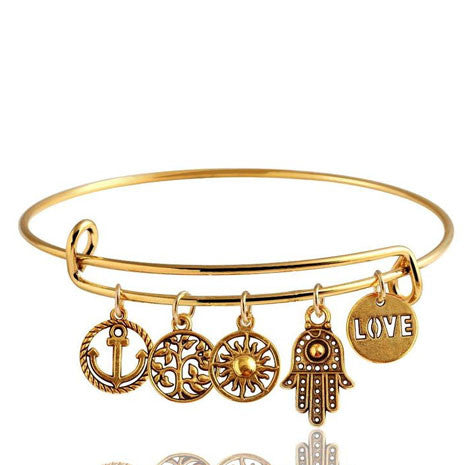 Gold Charm Love Bracelet - Her Teen Dream