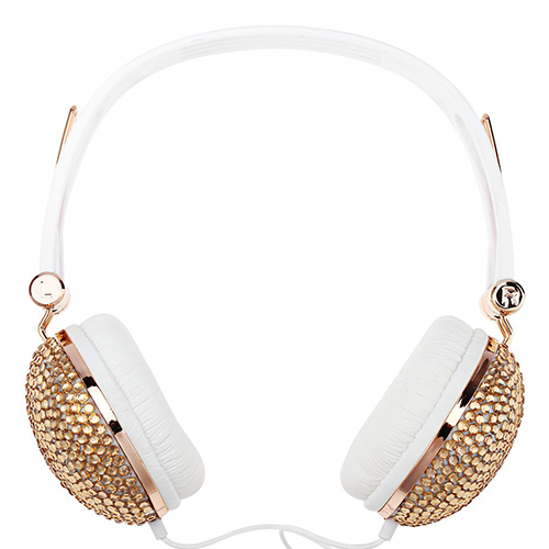 Bedazzled Gold Headphones - Her Teen Dream