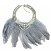Grey Feather Necklace - Her Teen Dream