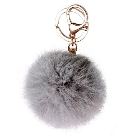 Grey Pom Pom Furry Keychain - Her Teen Dream
