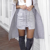 Lace up Skirt - Grey - Her Teen Dream