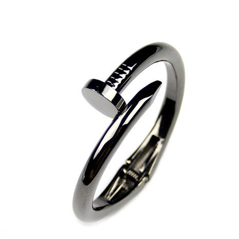 Nail Head Gunmetal Bangle - Her Teen Dream