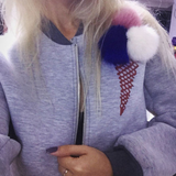 Furry Pom Pom Ice Cream Jacket - Her Teen Dream
