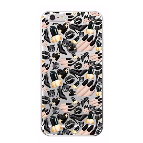 Black Emoji Lips Nails Heels Cosmetics iPhone Case - Her Teen Dream