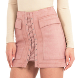 Lace up Skirt - Pink - Her Teen Dream