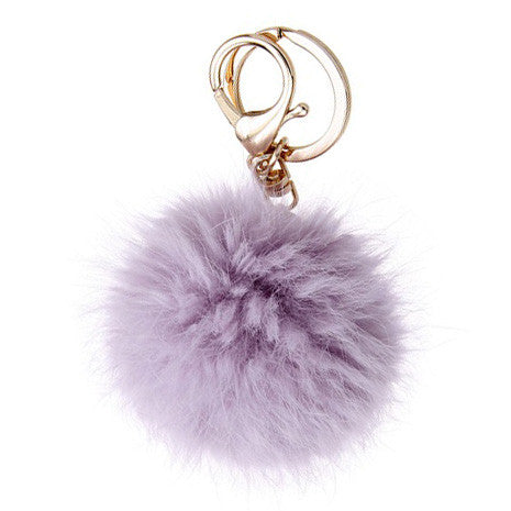 Lavender Pom Pom Furry Keychain - Her Teen Dream
