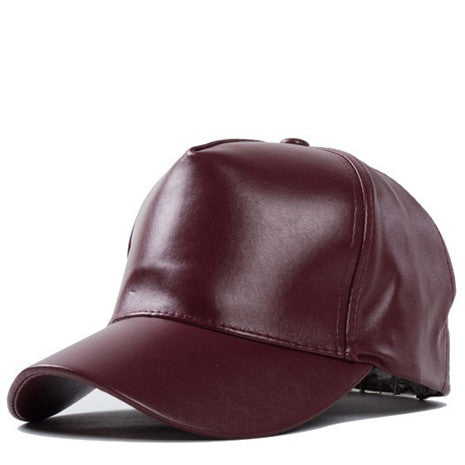 Mahogany Faux Leather Hat - Her Teen Dream