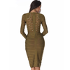 Mesh Studded Body Con Dress- Olive - Her Teen Dream