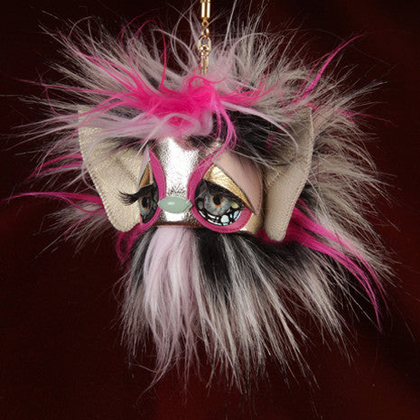 Pink Puff Monster Keychain - Faux Fur - Her Teen Dream