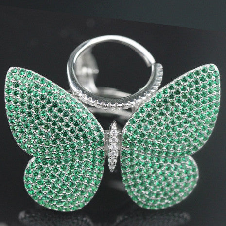Movable Butterfly Ring - Green Black