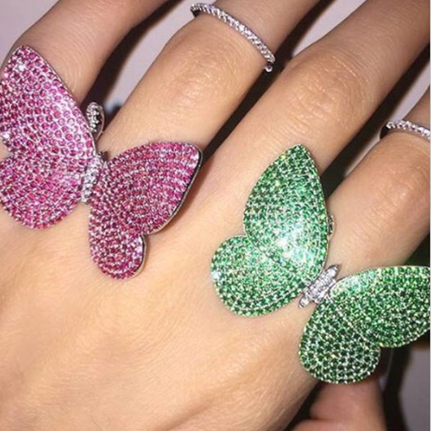 Movable Butterfly Ring - Green