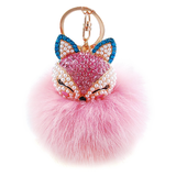 Fox Pink Pom Pom Furry Keychain - Her Teen Dream