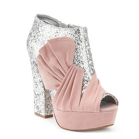 Charlotte Russe Pink Glitter Bootie - Her Teen Dream
