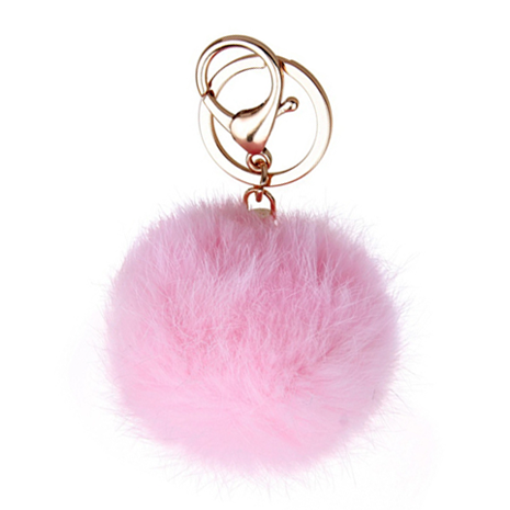Pink Pom Pom Furry Keychain - Her Teen Dream