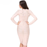 Mesh Studded Body Con Dress- Blush - Her Teen Dream