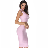 Two Piece Body Con Dress- Rose Petal - Her Teen Dream