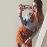 Lace up Skirt - Brown - Her Teen Dream