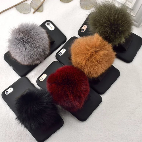 Furry Puff Fur Ball Velcro Strap iPhone Case - Her Teen Dream