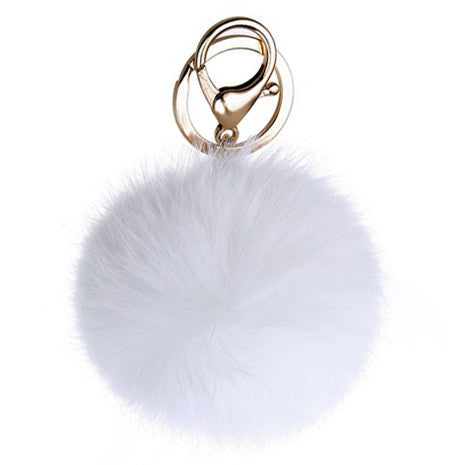 White Pom Pom Furry Keychain - Her Teen Dream
