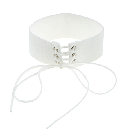 Velvet Lace Up Collar - White - Her Teen Dream