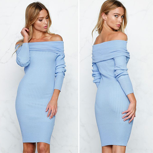 Blue Off the Shoulder Knit Dress - Her Teen Dream