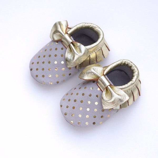 Gold Polka Dot Bow Moccasins