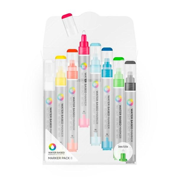 MTN Water Based Paint Marker Pack 3m Mixed Color Fine 8 Pack