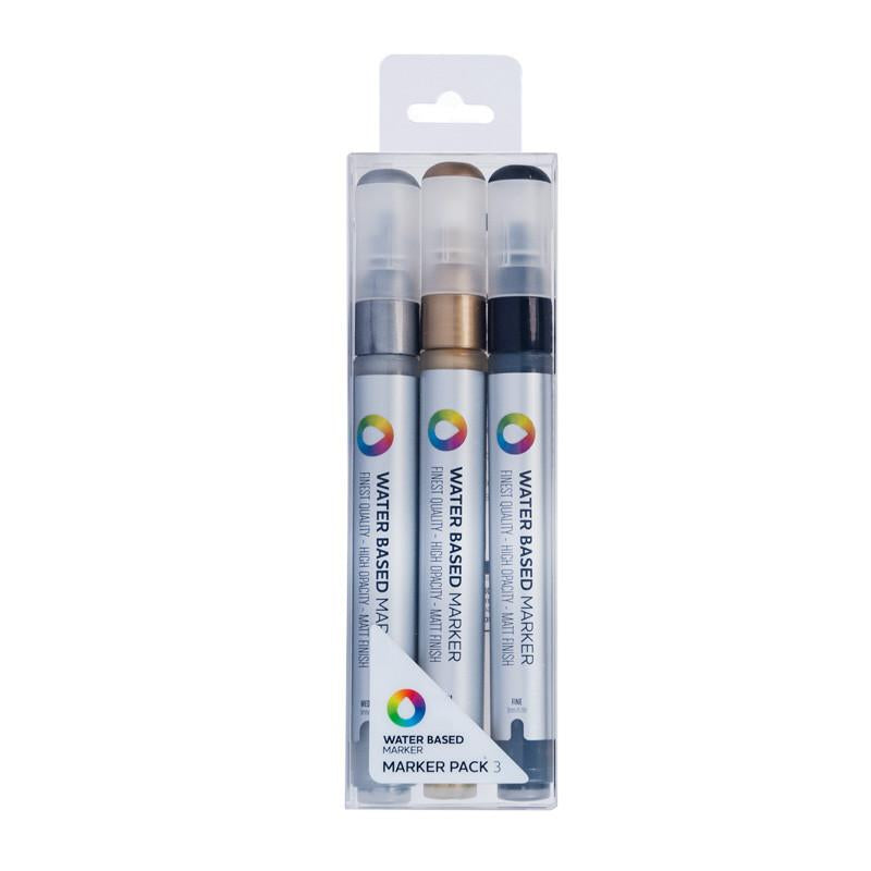 MTN Water Based Paint Marker Pack 3m Metallic 3 Pack