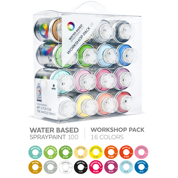 MTN Water Based 100ml Spray Paint - 16 Pack