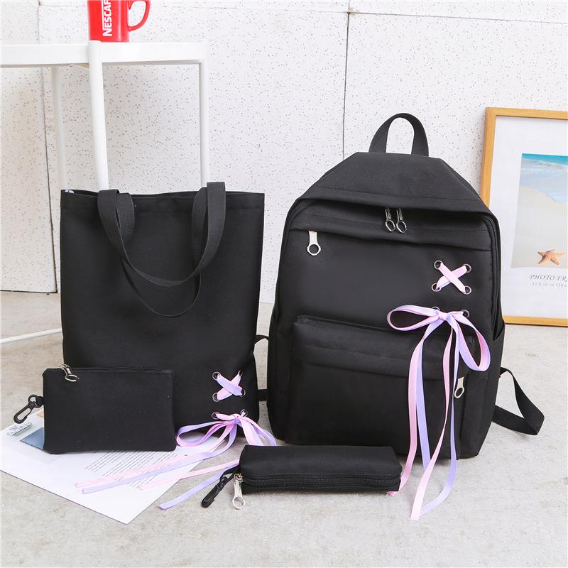 Ulzzang Bow Backpack School Set