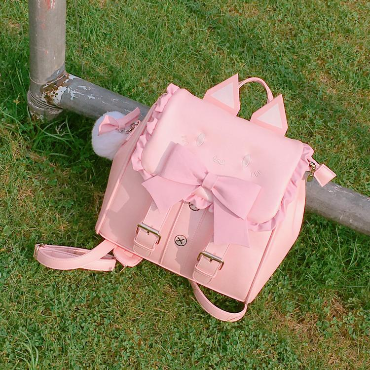 Kawaii Kitty Bow Backpack