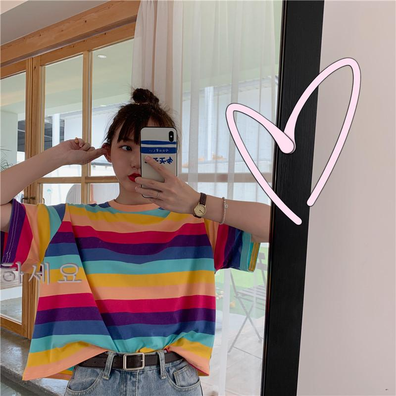 Summer Rainbow Stripes Tee