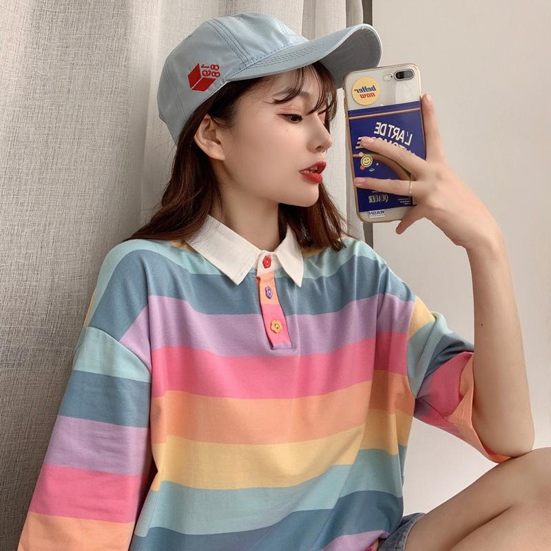 Pastel Vibes Collared Short Sleeve 'Oversized' Shirt