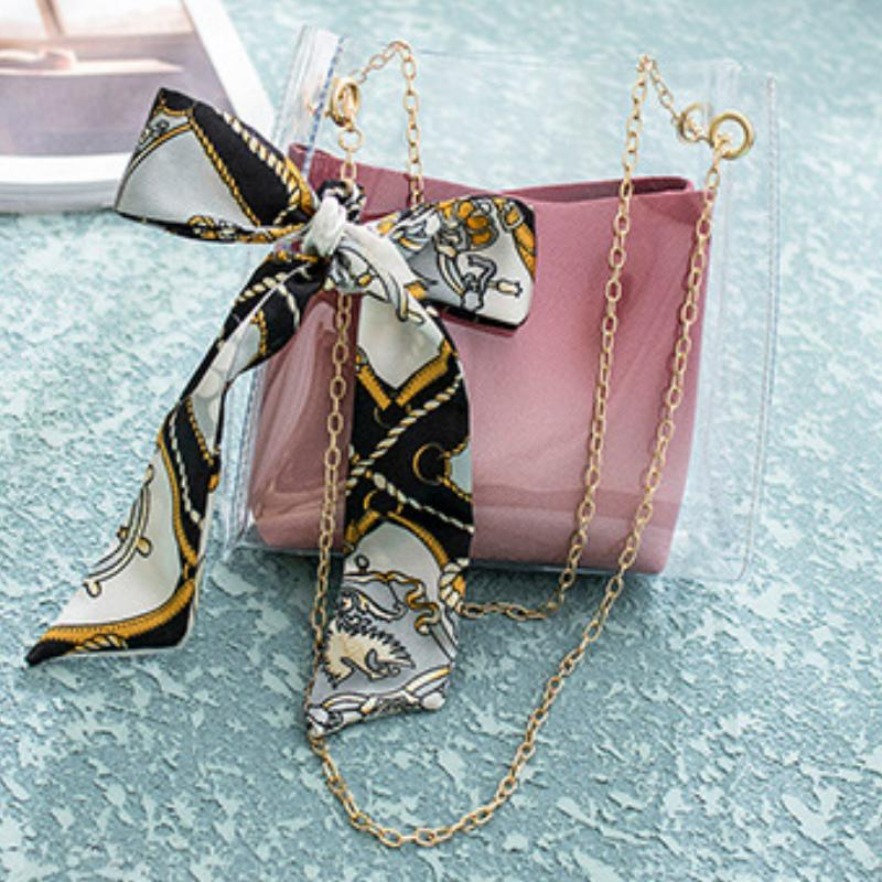 Korean Bow Transparent Shoulder Bag