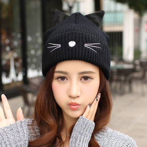 Cat Ears & Whiskers Beanie - Totemo Kawaii Shop