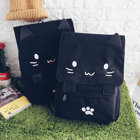 Happy Kawaii Cat Canvas Backpack