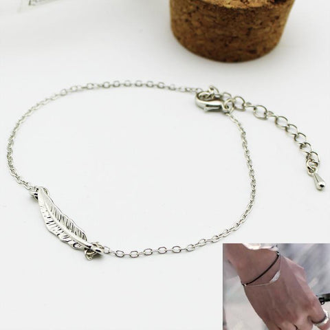 BTS Silver WINGS Feather Chain Bracelet