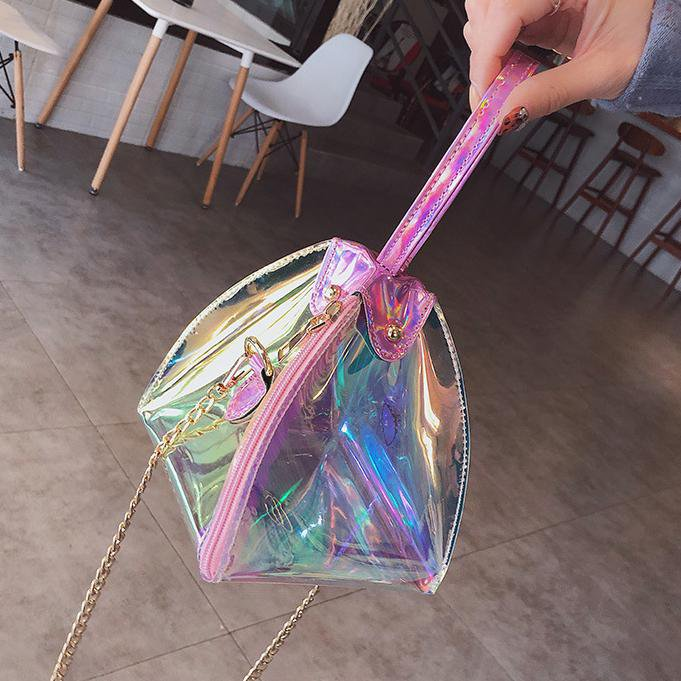 Transparent Pyramid Shoulder Bag