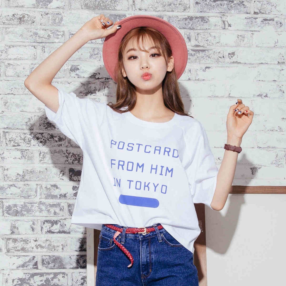 Postcard From Him in Tokyo Tee - Totemo Kawaii Shop
