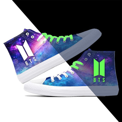 BTS Purple Galaxy Luminous Sneakers - Totemo Kawaii Shop