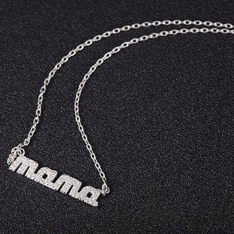 MAMA Cubic Zirconia Pendant Sterling Silver Necklace