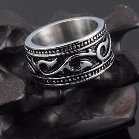 Men's Ethnic Shape Carved Stainless Steel Ring