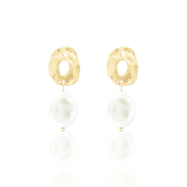 Textured Brass and Pearl Drop Earrings (4782793719892)