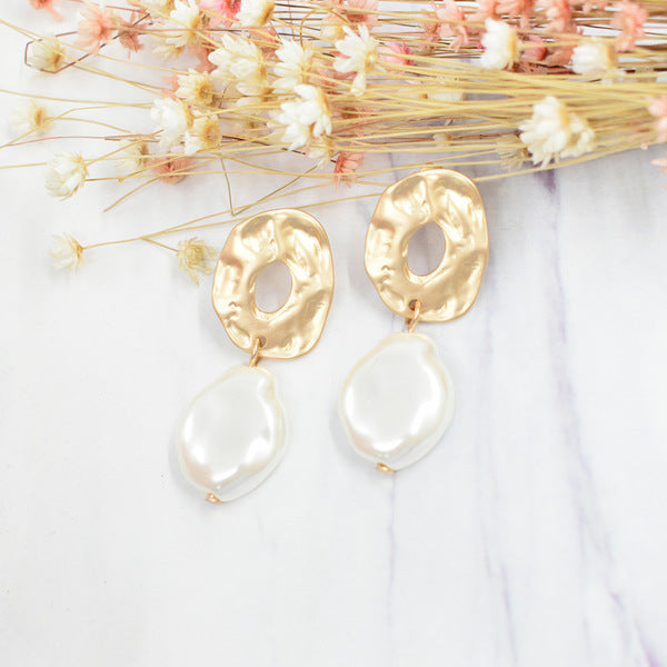 Hammered Metal and Pearl Drop Earrings (4782793719892)